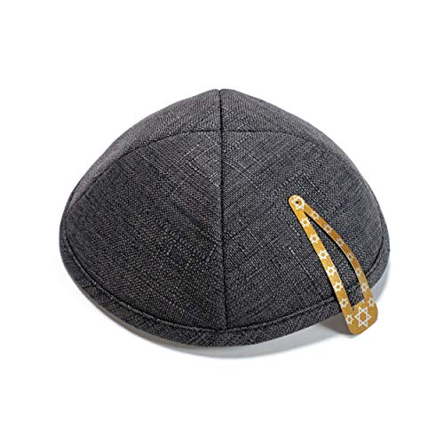 Elegant Linen Dark Grey Kippah Yarmulke Jewish Yamaka Kippa Israel Cap Judaica