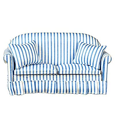 Melody Jane Dollhouse Modern Blue & White Striped Sofa Living Room Furniture: Toys & Games