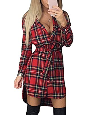 FANCYINN Women Long Sleeve Plaid Pattern Button Down Tunic Tops Shirt Party Dress