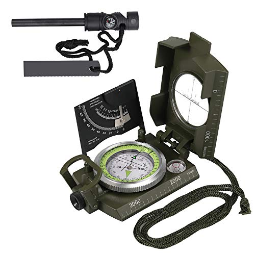 Rhinoco Professional Compass Waterproof IP65 Metal Compass with Survival Fire Starter Carry Bag Multifunction Lensatic Compass for Hiking Camping Hunting Climbing Exploring Geology - Metal Lensatic Compass