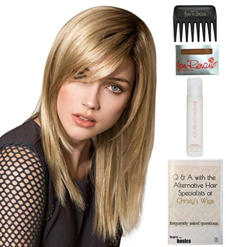 Mono Cap Wig Comfort - Bundle - 5 items: Code Wig by Ellen Wille, 15 Page Christy's Wigs Q & A Booklet, 2oz Travel Size Wig Shampoo, Wig Cap & Wide Tooth Comb COLOR: Sandy Blonde Rooted