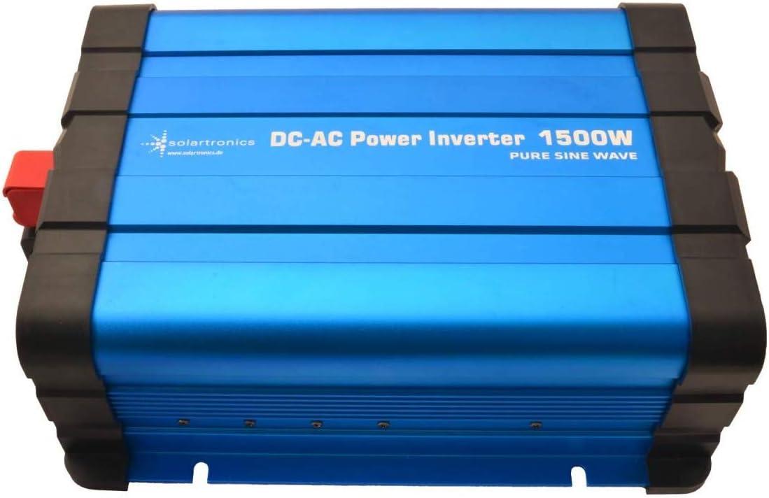 12 V, 1500//3000 W, sinusoidal Puro, con Pantalla Solartronics FS1500D Transformador de Corriente Color Azul