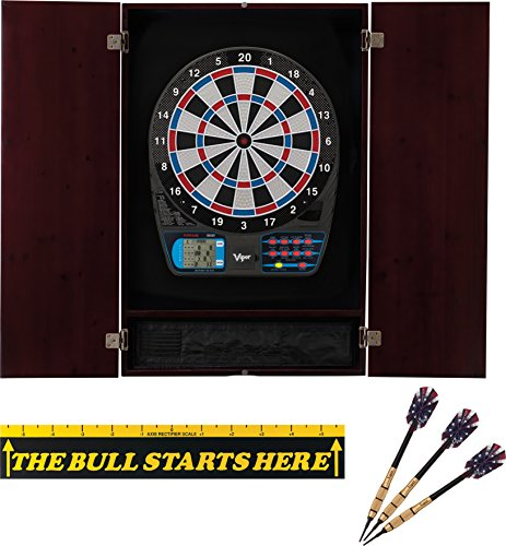 Viper Metropolitan Solid Wood Cabinet & Electronic Dartboard Ready-to-Play Bundle: 777 Dartboard, Darts and Throw Line, Mahogany Finish (Arachnid Pine Electronic Dartboard Cabinet)
