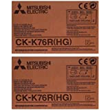 Mitsubishi 2xCK-K76RHG 6 Paper & Ink Set for CP-K60DW-S Photo Printer, 4x6 640 Prints/Roll