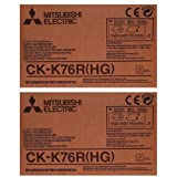 Mitsubishi 2xCK-K76RHG 6'' Paper & Ink Set for CP-K60DW-S Photo Printer, 4x6'' 640 Prints/Roll