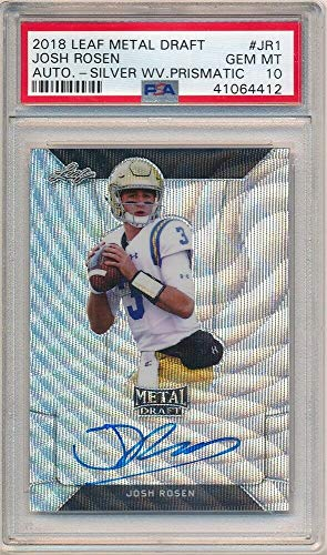 BIGBOYD SPORTS CARDS Josh Rosen 2018 Leaf Metal Draft Rookie Silver Prismatic AUTO SP PSA 10 GEM ()