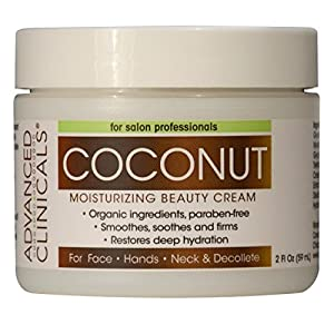 Advanced Clinicals Moisturizing Coconut Cream. Great Use As Body Lotion or Facial Moisturizer! Travel Size 2oz