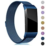 (US) Find-MyWay Replacement Compatible with Charge 3 Bands/Charge 3 SE Metal Bands Wristband Accessory Magnetic Breathable Sport Bracelet Strap Small & Large for Women Men Silver Rose Gold 10 Colors