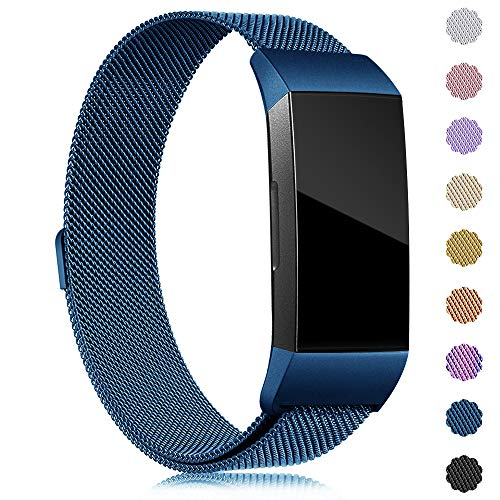 Find-MyWay Replacement Compatible with Charge 3 Bands/Charge 3 SE Metal Bands Wristband Accessory Magnetic Breathable Sport Bracelet Strap Small & Large for Women Men Silver Rose Gold 10 Colors ()