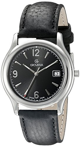 Grovana Men's 1207-1137 Traditional Analog Display Swiss Quartz Black Watch