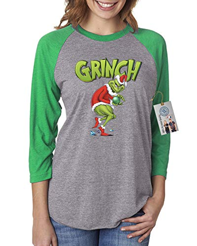 You're A Mean One Mr Grinch Christmas Womens Raglan Shirt Green Grey L -