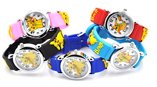 Hot Selling Pokemon Style Watch 3D Silicone Wristwatches Gift Set for Girls Boy Kids Children