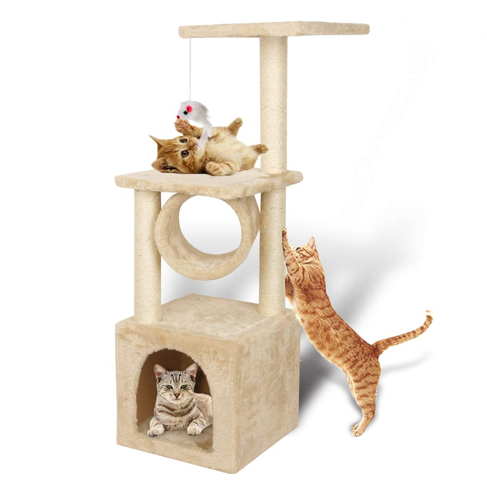 19c06113d06b 36'' / 42'' Deluxe Cat Tree Climbing Tower Condo House | Activity Tree with  Sisal Scratching Posts for Kitten Activity Centre Playhouse, Pet Furniture  Cat ...