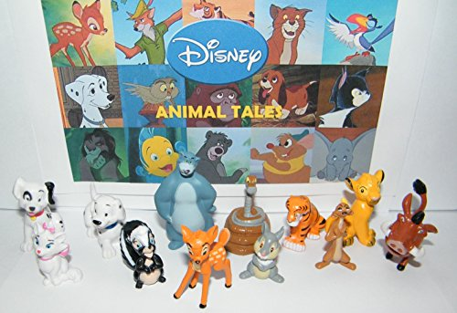 (Disney Animal Tales Deluxe Party Favors Goody Bag Fillers Set of 12 Figures Lion King Simba, Jungle Book Baloo, Bambi, 101 Dalmatian Puppies and More! )