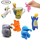 Provone Tea Infuser Tea Strainers 7 Sets Cute Animals Unicorn Mermaid Elephant Cat Duck Otter Hippo Loose Leaf Silicone Tea Steeper Tea Filters(7 pack)