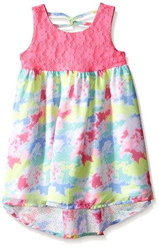 - Bonnie Jean Girls' Little Sleeveless Printed Chiffon Hi Low Dress, Fuchsia 5