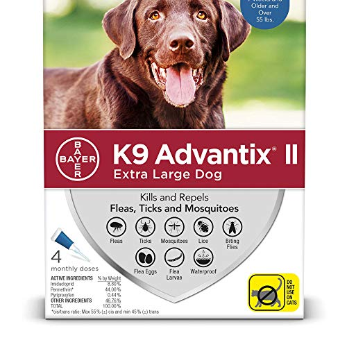 Bayer K9 Advantix II Flea, Tick and Mosquito Prevention for X-Large Dogs, Over 55 lb, 4 doses from Bayer Animal Health