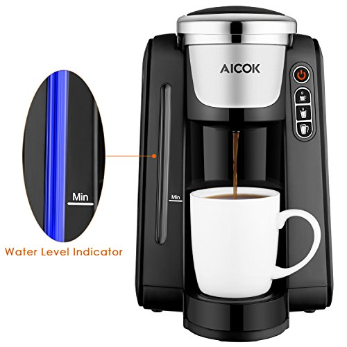 Single Serve Coffee Maker With Large Reservoir : Single Serve Coffee Maker, Aicok K-Cup Pods Coffee Maker, Coffee Machine with Five Brew Sizes ...