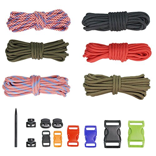 PSKOOK DIY Paracord Kits Make Bracelet Survival Parachute Cord Crafts 550 Tinder Cord Rope Braiding Wrist Bands with Buckles Needle/FID Multi -
