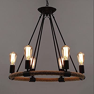 Industrial Hemp Rope Ceiling Light, SUN RUN Creative Retro 6-Light Fixture Chandeliers Vintage Metal Pendant Lamp with Painted Finish for Dining Room Kitchen