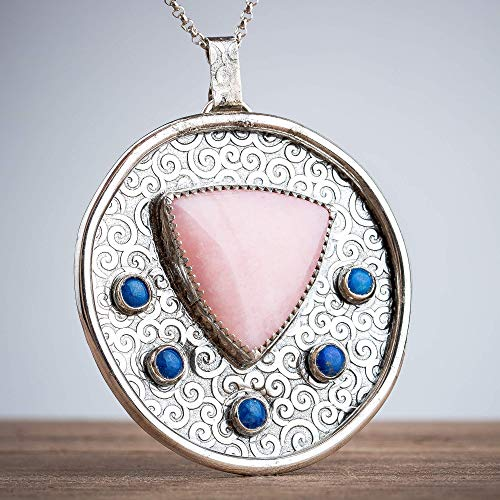 Pink Peruvian Opal and Blue Lapis Lazuli Statement Necklace in solid Sterling Silver - One of a ()