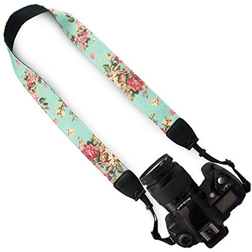 - Wolven Pattern Canvas Camera Neck Shoulder Strap Belt for All DSLR/SLR/Men/Women etc, Green Vintage Floral