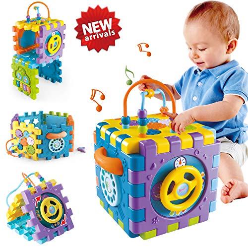 51Qo1kV4jbL. SS500 Juguete de Bebé Multipropósito 6 en 1: -Clasificador de formas, un piano multimodo, volante, juego de abrir puertas, juego de marcación números, engranajes y cuentas. Compre 1 juguete, su bebé podrá obtener más educación. Gran Regalo de Juguete Educativo para Niños- Este juguete es ideal para cumpleaños/Navidad de niños. Anime a su hijo a reconocer formas, colores y más a medida que desarrollan habilidades motoras y buena resolución de problemas. Su regalo reflexivo pondrá una gran sonrisa en un pequeña y bonita cara Creativo e Interactivo- Nuestros cubos de actividad son vibrantes con bonitos rostros de animales de dibujos animados que atraen la atención de los niños rápidamente y les agregan más diversión durante el tiempo de juego