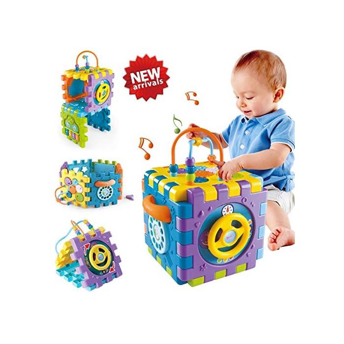 51Qo1kV4jbL Juguete de Bebé Multipropósito 6 en 1: -Clasificador de formas, un piano multimodo, volante, juego de abrir puertas, juego de marcación números, engranajes y cuentas. Compre 1 juguete, su bebé podrá obtener más educación. Gran Regalo de Juguete Educativo para Niños- Este juguete es ideal para cumpleaños/Navidad de niños. Anime a su hijo a reconocer formas, colores y más a medida que desarrollan habilidades motoras y buena resolución de problemas. Su regalo reflexivo pondrá una gran sonrisa en un pequeña y bonita cara Creativo e Interactivo- Nuestros cubos de actividad son vibrantes con bonitos rostros de animales de dibujos animados que atraen la atención de los niños rápidamente y les agregan más diversión durante el tiempo de juego