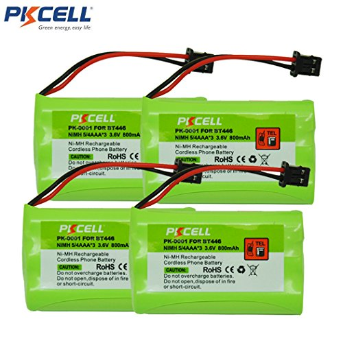 BT-446 Cordless Phone Battery 800mAh 3.6V Ni-MH Replacement Rechargeable Battery for Uniden Cordless Phone (4pcs)