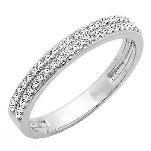 (Dazzlingrock Collection 0.20 Carat (ctw) 10K Round Diamond Ladies Double Row Wedding Band 1/5 CT, White Gold, Size)