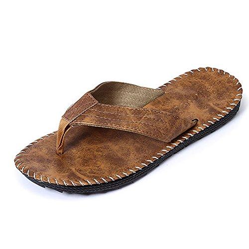 Camel Back Arch (Kaimao Men's Flip Flop PU Leather Non-Slip Sandals - Camel Size 7)