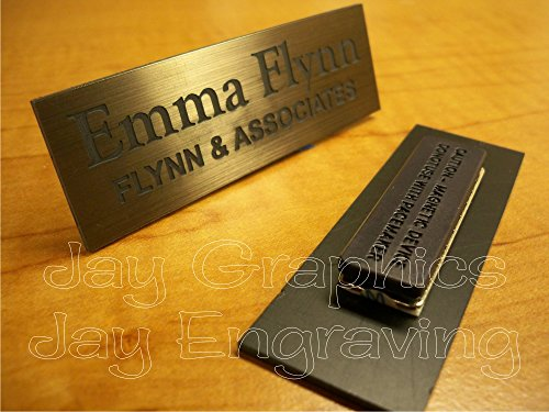 Custom Engraved 1x3 Brushed Bronze Name Tag | Badge With Magnetic Closure | Employee Identification Plate Magnet Sign Personalized ()