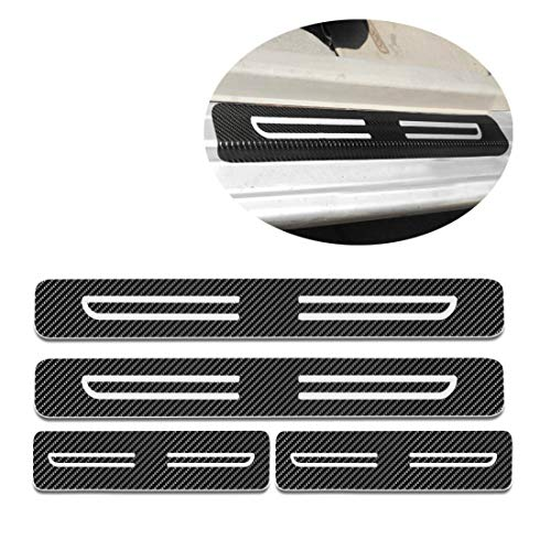 (For Nissan 350Z 370Z Altima Car Door Sill Auto Parts 3D Carbon Fiber Welcome Pedal Protect Protector Sill Guards Anti-kick Scratch Door Entry Guard Threshold Sticker 4pcs White)