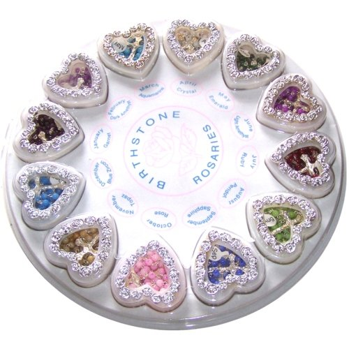 Birthstone Rosaries - Please select your Month - Color from drop down (Heart Birth Sampler)