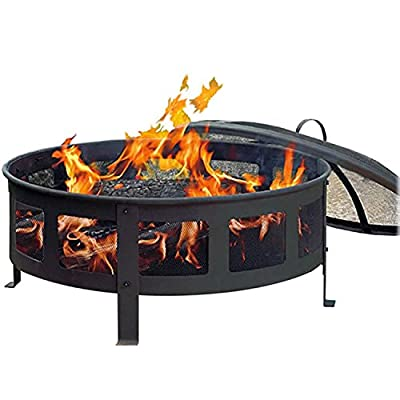 "CobraCo Bravo Mesh Fire Pit - Classic black finish with high temperature paint Sturdy steel base construction with screened side panels A deep 9"" base for bigger fires with air risers to maximize air flow - patio, fire-pits-outdoor-fireplaces, outdoor-decor - 51Qo2NFElCL. SS400  -"
