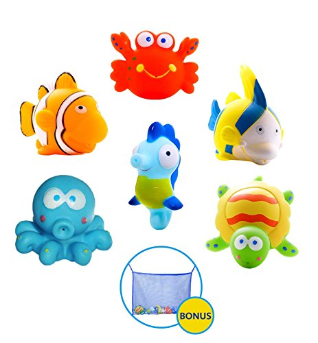 Large Educational Water Squirties Ocean Animals. 6-Pack. Bath Organizer Included. Fun Bathtub Mildew Resistant Floating Squirter Toys for Baby, Toddlers, Kids.