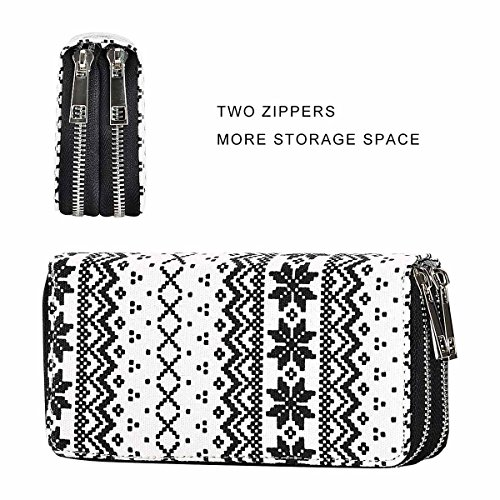 PU Big Snowflake for HAWEE Clutch Wallet Zippered Dual Premium Phone Cash Coin White Woman black for Smart Size Card Purse Long Pdqr7qR