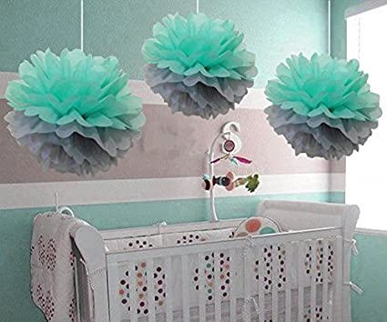 Baby Shower Decorations Furuix 15pcs Mint Grey White Party Decoration Kit Tissue Paper Pom Pom Honeycomb Ball for Bridal Shower Birthday Party Decorations Mint Grey White