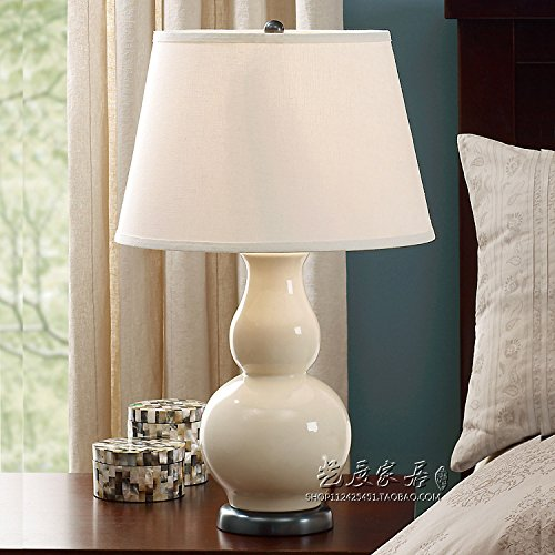 KAI Bedroom Bedside Lamp Table Lamp Ceramic Mediterranean,white (Mediterranean Set Table)
