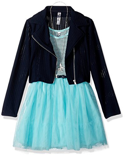 Beautees Big Girls' 2 Pc. Moto Jacket Over Stripe/Solid Lace Skater Dress, Mint, 14 (Tween Party Dress)