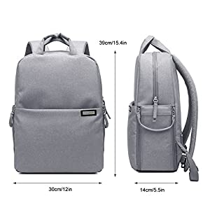 Professional Fashion Camera Bag DSLR Laptop Backpack Waterproof Rucksack Travel Large Size Multifunctional Backbag Water Resistant for Sony Canon Nikon Olympus Lens Tripod and Accessories (L-Grey)