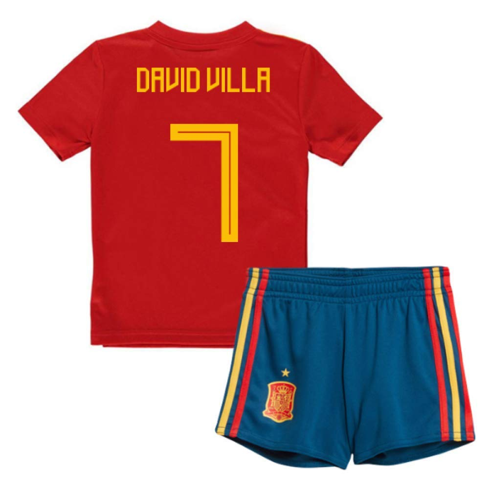 UKSoccershop 2018-19 Spain Home Mini Kit (David Villa 7)