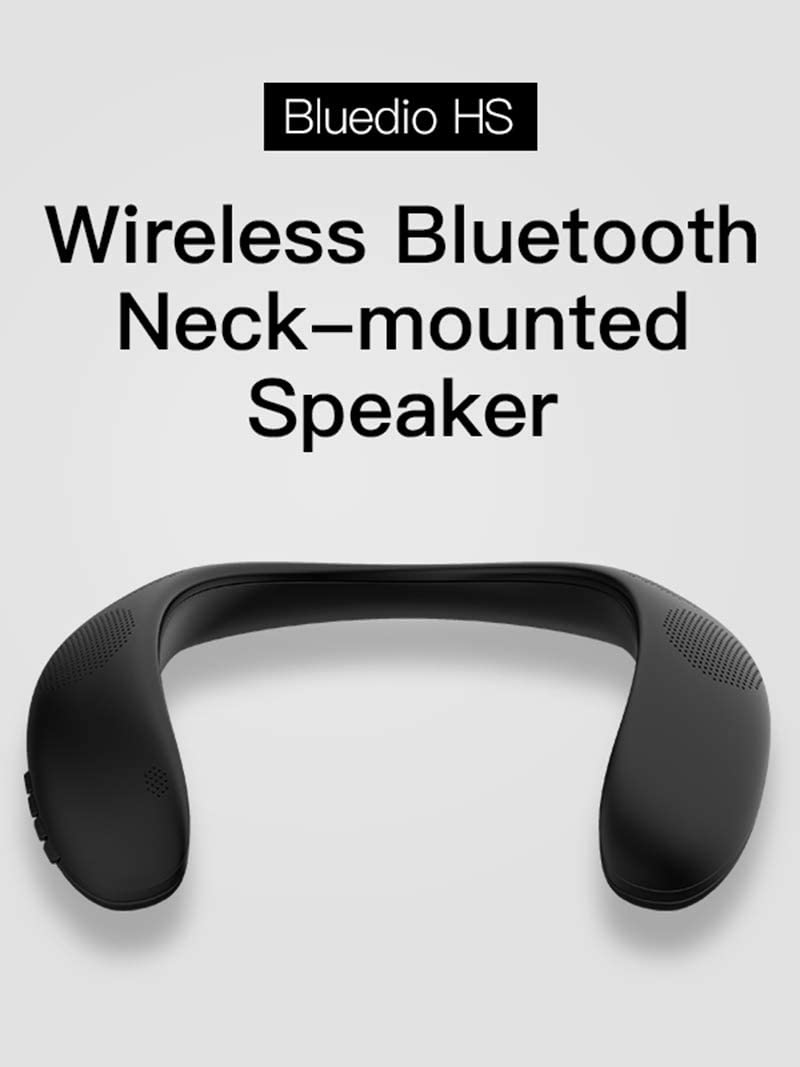 Hiking Phone Call BAOSHI Wearable Speaker Bluetooth 5.0 Wireless Neckband Handsfree Mic FM Radio with TF Card Reading Function Lightweight Outdoor Sound Box Private Music for Cycling Black