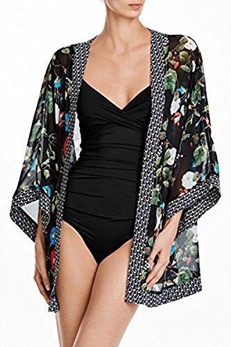 AGOGO 2017 bohemio Moda Mujer para presionar kimono Cárdigan blusa Tops vestido de playa bikini Cubrir (Flor de la gloria impreso, Un tamaño) Flor de la gloria impreso