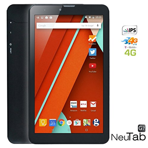 NeuTab® G7 7 inch Unlocked GSM 4G Quad Core Tablet Google Android 5.1 Lollipop OS IPS HD Display Dual Sim Slot (Windows 8 Tmobile Phone compare prices)