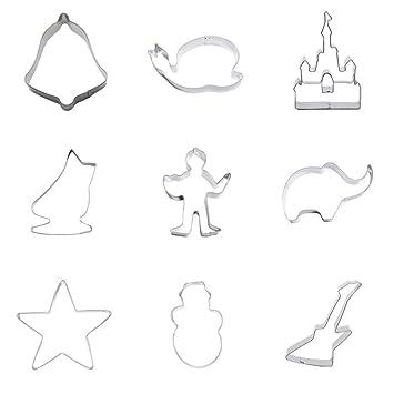 Cortador de galletas para guitarra de nieve, diseño de elefante de estrella de cinco puntos, 9 piezas, ideal para fiestas de Navidad: Amazon.es: Hogar