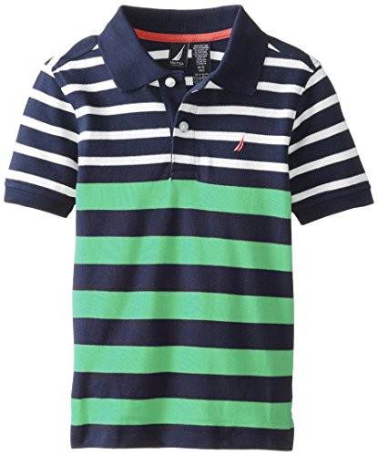 Nautica Little Boys' Short Sleeve Stripe Pique Polo, Jade,L(7)