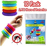 Mosquito Bouncer Mosquito Repellent Bracelet 10 Pack - 100% All Natural Plant-Based Oil, Non-Toxic Travel Insect Repellent, Safe Deet-Free Band, for Kids & Adults