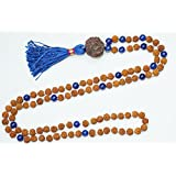 Healing Stone Meditation Rudraksha Lapis Lazuli Necklace Yoga Energy Beads Mental Clarity Beads