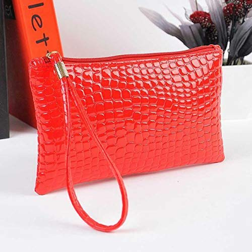 Fendi Crocodile Leather - Crocodile Leather Clutch Handbag Bag Coin ID Card Phone Women Purse Vogue Wallet (Color - Red #B)